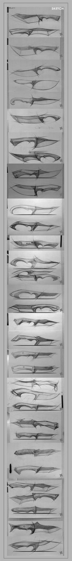 Interesting sketches on various knife possibilities. Inspiration for my own sketches. Cool Knives, Knives And Tools, Knives And Swords, Kydex, Diy Knife, Concept Weapons, Fantasy Weapons, Custom Knives, Knife Making