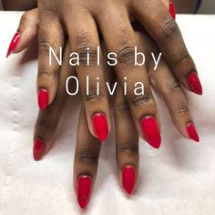 gel nails by Olivia Royal Red . Gold Nails, Glitter Nails, Brighton Lanes, Bio Sculpture Gel, Double Team, Royal Red, Red Dragon, Vegan Beauty, Accent Nails