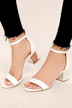 eaff6f2df100 The final accent to all of your special occasion outfits will be the Tilda  White Ankle Strap Heels! White vegan leather heels have a classic single  sole ...