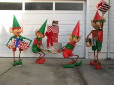 Santa's Elves Yard Display Soooo Cute!!! Made of wood armature and papermache painted with basement paint and clear coated from instructables