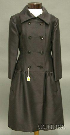 Vintage Teal Traina Black Wool Coat Dress, 1960s