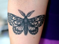 a gypsy moth done by rhonda mulder of 5 cents tattoo in ottawa