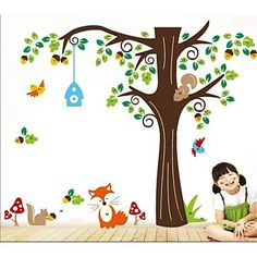ZOOYOO®removable colorful cute green tree and animals 3D wall sticker home decor wall stickers for kids/lbed room - EUR € 17.99