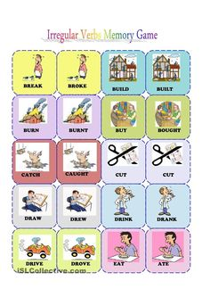 Irregular verbs memory card game( 1/3) worksheet - #Freebie ESL printable worksheets made by teachers