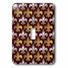 3dRose Gold and silver colored fleur de lis pattern crimson red background, Double Toggle Switch