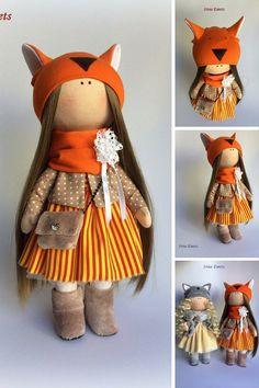 Fox doll Textile doll Handmade doll Fabric by AnnKirillartPlace