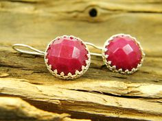 Red ruby color jade gem stone silver dangle by sherijewelry