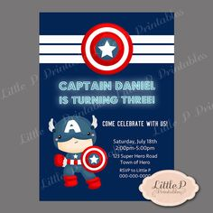 Captain America Birthday Invitation. Avengers by littlePprintables - Visit to grab an amazing super hero shirt now on sale!