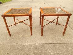 Faux Bamboo end cane Table Pair http://stores.ebay.com/GirlsOhioauction2?_trksid=p2047675.l2563 #Regency #mid century