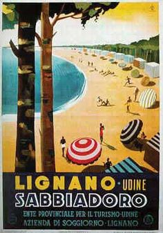 "Panorama del Lido, 1 9 3 7,  Lignano Sabbiadoro, Italy. Vintage travel post with beach and parasol.  The beach life is more active and the usual parasols are represented  not red but  ""red with white stripes."" =) #riviera #essenzadiriviera.com"