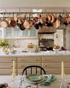 copper pots/accents will look great in our kitchen; sage green linens for table...