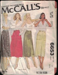 McCalls Misses Skirts Sewing Pattern 6653 – Vintage Sewing Patterns