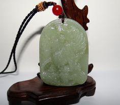 "2"" China Certified Nature Nephrite Hetian Jade Green Tiger Necklace Pendants"