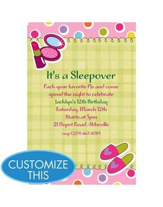 Make up birthday party invitations make up makeover sleepover cute sleepover or a spa party invite birthday invitations custom invitations invitations party filmwisefo