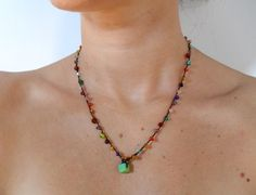 Colorful beaded crochet necklace.