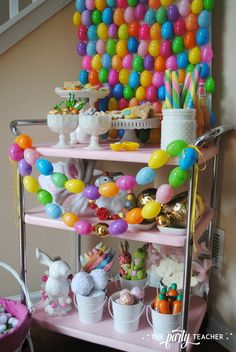My Parties: How to Style an Easter Egg Hunt Bunny Buffet - The Party Teacher - Easter Bar Cart by The Party Teacher – egg hunt bunny buffet - Easter Birthday Party, Plastic Easter Eggs, Easter Celebration, Easter Brunch, I Party, Party Ideas, Egg Hunt, Easter Ideas, Easter Decor