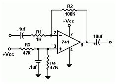 Audio pre-amplifier circuit using op-amp Dc Circuit, Circuit Diagram, Electronics Basics, Electronics Projects, Electronic Circuit Projects, Audio Amplifier, High Voltage, Tecno, Solar Energy