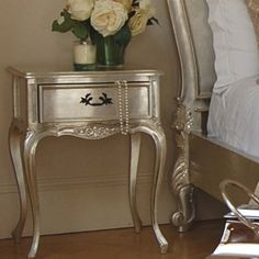 Metallics are a great way to dress up a nightstand, try this with Crescent Bronze Old English Pewter #866.