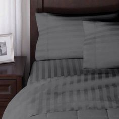 Better Homes And Gardens 300 Thread Count Damask Stripe Bedding Sheet Set,  Gray