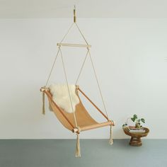 Ovis Hanging Chair in Dark Brown and Brass - $2,800