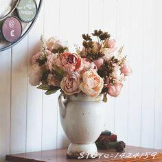New European Vintage Artificial Flowers Silk Flower Flowers Fall Vivid Peony Fake Leaf Wedding Home Party Decoration fleurs arti