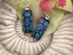Dichroic Earrings  Steel Blue Earrings   Fused Glass by ccvalenzo