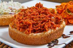 Korean BBQ Pulled Pork Sandwich with Sesame Slaw and a Kimchi Sweet Potato Salad