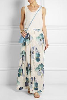 Tory Burch|Kendra floral-print stretch silk-georgette maxi skirt|NET-A-PORTER.COM