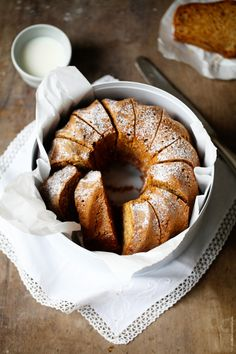 Apple bundt cake in the fall with walnut and cinnamon.
