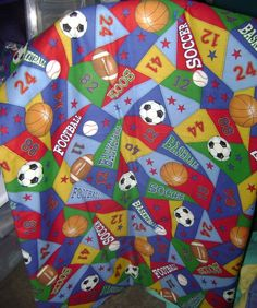 Patchwork of Sports Quilt  530 by TheKraftyKats on Etsy (Home & Living, Bedding, Blankets & Throws, Quilts, boys quilt, sports themed quilt, birthday gift, holiday gift, bedroom decor, baby gift, football quilt, soccer quilt, basketball quilt, all sports quilt, handmade quilt, handmade, quilt)