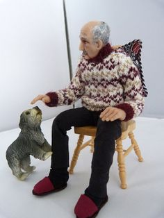 Dollhouse Miniature Grandfather Colin by JoMed on Etsy, $225.00