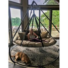 Flowerhouse Flying Saucer Chair Hammock with Stand/Wayfair Balcony Swing, Porch Swing, Backyard Hammock, Hammock Ideas, Outdoor Hammock Chair, Outdoor Swings, Diy Hammock, Outdoor Seating, Trampoline Swing