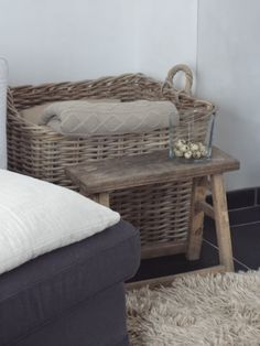 Love baskets with blankets in them =) COZY