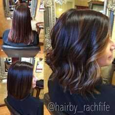 Before and after deep base with subtle balayage highlights on a long bob haircut. hair by Rachel Fife @ SF Salon: