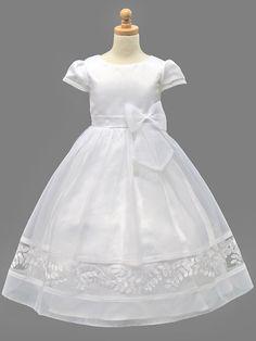 White Communion Dress w/ Bottom Embroidery & Bow
