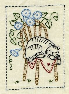 Embroidery: Cat on a chair ♥