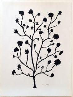 Geranium - Hand printed linocut on white velvet paper, by Hugo Guinness.  Available at Wilson Stephens & Jones.