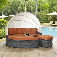 LexMod   Summon Canopy Outdoor Patio Sunbrella® Daybed In Canvas Tuscan