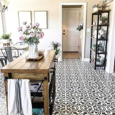 Paint your old tile floor with our stencils! This cement tile stencil is perfect for creating a gorgeous painted tile floor, kitchen tile backsplash, accent wall or even a table top! By Cutting Edge Stencils Painting Tile Floors, Stencil Painting On Walls, Wall Tiles Design, Kitchen Tiles Design, Floor Design, Diy Flooring, Kitchen Flooring, Flooring Ideas, Tile Floor Kitchen