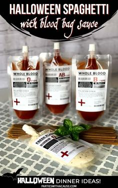 Blood bags are a great addition to any Halloween dinner party. A Halloween spaghetti dinner is even spookier when served with eye meatballs, and spaghetti sauce in blood bags. Get the printable labels and more Halloween Dinner Ideas at PartiesWithACause.com #halloweenfood #halloweendinner #bloodbags
