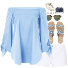 lucky for you that's what I like... by simplysarahkate on Polyvore featuring TIBI, STELLA McCARTNEY, Jack Rogers, Kiel James Patrick, Honora, Ray-Ban, LSA International, Summer, Spring and Blue