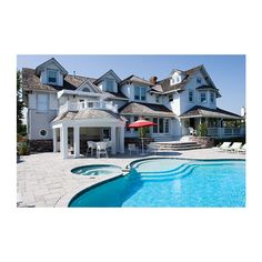 Home for…35? Behemoth Jersey Shore Beach House Remodel ❤ liked on Polyvore featuring houses, backgrounds, home, rooms and pictures