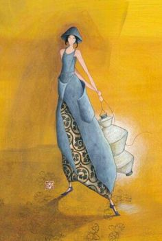 Gaelle Boissonnard art card friendship love any occasion girl in blue grey holding japanese lantern behind her back background yellow gold blank card square card Happy Paintings, Beautiful Paintings, Images D'art, Art Fantaisiste, Art Carte, Creation Art, Art Sculpture, Arte Popular, Art Moderne