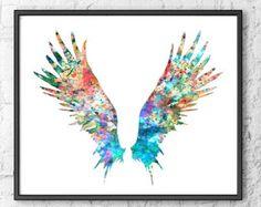 Imprimir acuarela acuarela arte pluma pluma de por FineArtCenter