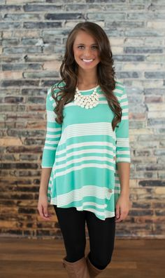 The Pink Lily Boutique - Striped Button Side Tunic Mint, $34.00 (http://thepinklilyboutique.com/striped-button-side-tunic-mint/)
