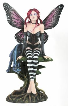 18 1 2 inch High Black and Red Fairy Sitting with Blue Dragon Statue | eBay