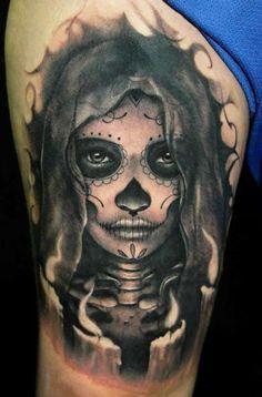 Dark grim day of the dead tattoo