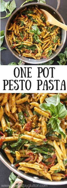 This One Pot Pesto Pasta is packed with flavor from hearty basil, pine nuts and sun-dried tomatoes.and it's ready in under 30 minutes. (One Pan Pesto Chicken) Pasta Al Pesto, Pesto Pasta Recipes, Pasta With Basil, Vegetarian Pesto Pasta, Basil Pesto Chicken Pasta, Pesto Pasta Dishes, Penne Pasta, Vegetarian Recipes, Cooking Recipes