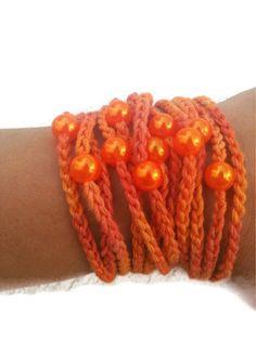 Handcrochet  Rope Bracelet with orange beads by ArtofAccessory, $15.00