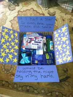 """If I had a star for every time you made me smile, I'd be holding the night sky in my hand."" Military Care Package"